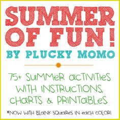 FREE PRINTABLE Summer of Fun kit.  Now includes blank squares in each color.  www.pluckymomo.com
