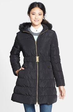 Via Spiga Faux Fur Trim Hooded Down & Feather Coat | Nordstrom