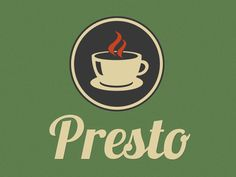 Presto Cafe Logo - Like the colors and the vintage feel of both the logo and the typeface