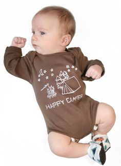 For the fashionable little happy camper!  Happy Camper Unisex Organic Bodysuit Clothing in by GrowingUpWild, 24.00