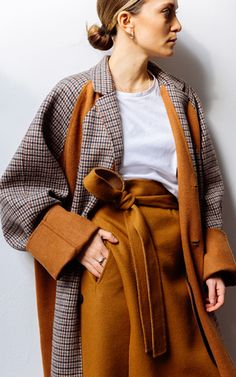 High-Waisted Belted Wool Wrap Skirt by Deveaux Iranian Women Fashion, Fashion Outfits, Womens Fashion, Fashion Trends, Look Vintage, Elegant Outfit, Coat, Winter Outfits, Winter Fashion