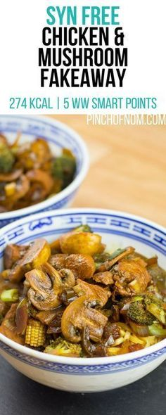 Syn Free Chicken and Mushroom Fakeaway | Pinch Of Nom Slimming World Recipes 274 kcal | Syn Free | 5 Weight Watchers Smart Points