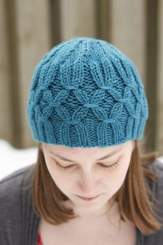 Hand knit hat teal beanie turquoise hat womens by KnittingbyKali