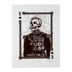 Calaveras King of Spades Woodcut Print