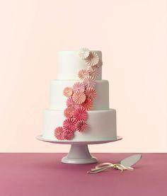 Pink Ombre Pinwheels - White fondant with gumpaste pinwheels. Photo by Devon Jarvis