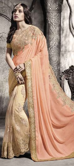 195168 Beige and Brown, Orange  color family Embroidered Sarees, Party Wear Sarees in Bemberg, Georgette, Net fabric with Border, Machine Embroidery, Stone, Zari work   with matching unstitched blouse.