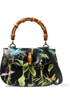 Gucci - Bamboo Classic Printed Textured-leather Shoulder Bag - Black