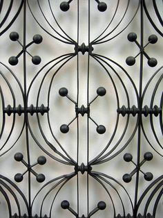 A detail of one of Louis Henri Sullivan's cast and wrought iron elevator enclosures that were created for his Chicago Stock Exchange Building (1893), Victoria and Albert Museum, London, UK