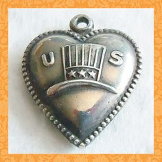 Vintage USA Uncle Sam hat puffy heart sterling charm, Engraved MOTHER 1941