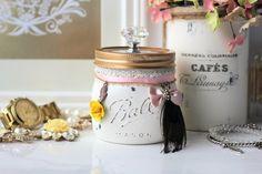 White Mason Jar, Shabby Chic Mason Jar, Trinket Mason Jar, Jewellery Holder, Potpourri Holder, Vanity Organizer, Bridesmaid Gift by ShabbyChicRetreat on Etsy