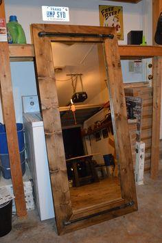 Industrial Rustic Floor Mirror by AppleCreekFurniture on Etsy, $250.00