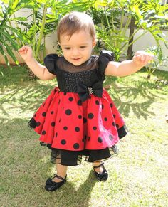 Baby Girl Dresses, Little Dresses, Pretty Dresses, Flower Girl Dresses, Ladybug Girl, Ladybug Party, Disfraz Minnie Mouse, Minie Mouse Party, Minnie Dress