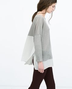Image 3 of TWO-TONE KNIT T-SHIRT from Zara