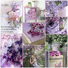 Collage by Miss Lily Bliss Beautiful Collage, Beautiful Flowers, Purple Lilac, Purple Flowers, Pot Pourri, Mood Colors, Color Collage, All Things Purple, Home And Deco