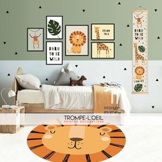 Take your baby on an African safari by decorating his nursery in a jungle theme. Jungle Bedroom, Baby Bedroom, Baby Boy Rooms, Baby Room Decor, Nursery Room, Kids Bedroom, Boy Toddler Bedroom, Toddler Rooms, Nursery Decor