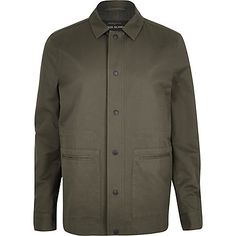 Khaki green casual minimal worker jacket $110.00