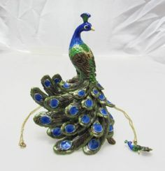 Trinket Box Pewter Painted Swarovski Crystals Peacock Bird Animal With Necklace at Keswick Jewelers in Arlington Heights, IL 60005, www.keswickjewelers.com #peacock