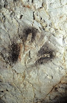 The Cave Art Paintings of the Cosquer Cave in France - Black hand stencil with clay stained palm. Art Pariétal, Stone Age Art, Statues, Cave Drawings, Painting Templates, Rock Painting Ideas Easy, Painting Videos, Old Art, Tribal Art