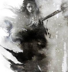 Samurai water color drawing