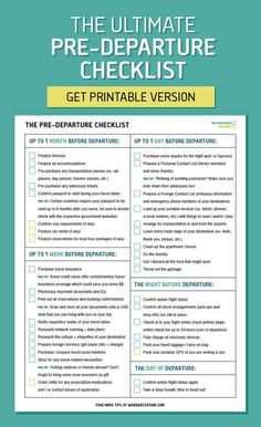 The ultimate pre-departure checklist - from finalizing your itinerary, to confirming visa requirements, to purchasing travel insurance, to packing your carry-ons. Know all the when and what's before your trip!