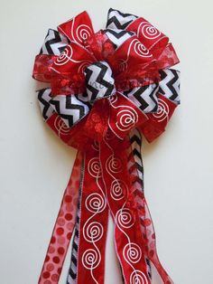 Black Red White Christmas Tree Topper Bow Christmas Wreath Swags Bow Glitter Red Black Chevron Polka Dots Party Decorative Bow on Etsy, $25.95