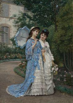 Auguste Toulmouche, A Garden Stroll, 1877