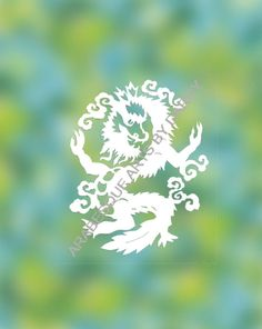 This is the PDF template of the medium sized Asian Dragon that I have cut out, spray-painted, and sold many times. The white image on the White Image, Paper Cutting, My Design, Dragon, Pdf, Printables, Asian, Templates, Times