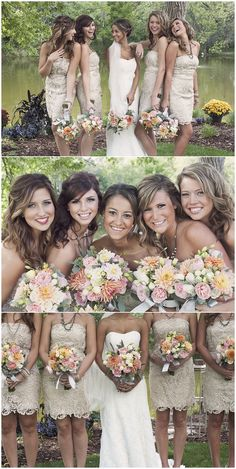 Love all the colors and bottom of bridemaids dresses!