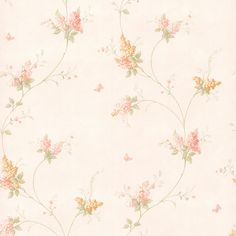 436-66402 - Isabelle Peach Butterfly Floral Trail wallpaper