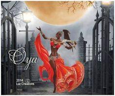 """Oya Yansa   Oya es la soberana de los vientos, el remolino. Su numero es el 9, el cual le da el titulo de Yansa o """"Madre del Nueve"""", en el cual ella gobierna a Egun o los muertos. También es conocida por los colores marrones o castaños, diseños floridos y nueve colores diferentes.  Oya es la... Todo Sobre la Orisha Oya y sus Hijos"""