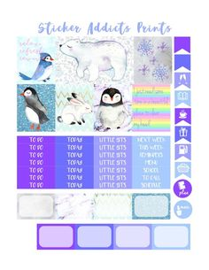 Free Printable Kawaii Cuddly Creatures Weekly Planner Stickers {PDF and Studio3 Files} from Sticker Addicts Anonymous