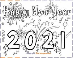 New Year Coloring Pages, Free Kids Coloring Pages, Coloring Sheets For Kids, Christmas Coloring Pages, Free Printable Coloring Pages, Coloring Pages Winter, New Year's Eve Activities, Free Activities For Kids, New Year's Eve Colors