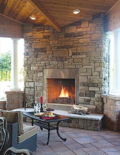 Indoor/outdoor large fireplace from EP Henry