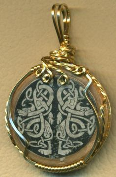 Celtic Decal Wood Brass Wire Wrap Pendant
