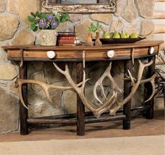 Rustic Lodge Demi Lune Antler Table...I'm in love!!