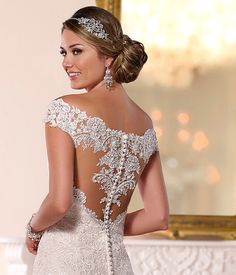 Stella York 2016 lace back off the shoulder detail fitted wedding dress with buttons