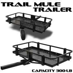 2-Hitch-Mule-Trailer-Folding-ATV-UTV-Cart-300LBS-Tow-Camp-Hunting-Camping-Trail