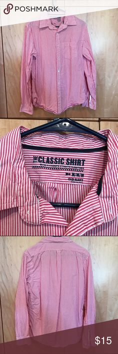 Men's button down shirt - red and white stripe Long sleeved men's button down shirt, in red and white stripe. Size medium. Comes from smoke free home. Old Navy Shirts Dress Shirts