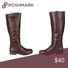 """Boots, Wide Calf Like new. Only worn about 3 times. Excellent used Condition (EUC). Deep red / maroon.   Tall boots (measures about 15""""). Zipper up the back. Buckle ornament/detail. Deep red. Leather-look, cracked leather look.   I didn't notice any scuffs or marks.   Size 6 B(M), wide calf. Journee Collection Shoes"""