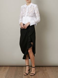 Balenciaga lace shirt and skirt, with Alexander Wang sandals