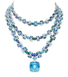 TIFFANY & CO. 2016 BLUE BOOK COLLECTION ~ Necklace with marquise tanzanites, green tourmalines, aquamarines and marquise and round diamonds, with a cushion-cut aquamarine drop.