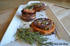 Rosemary Spinach Yam Stackers - This Chick Eats Clean Thanksgiving side dish sure to add some beauty to the table!