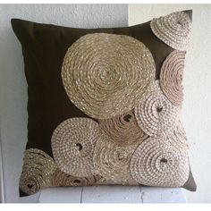 Brown Spiral Jute 35x35 cm Silk Cushions Cover - Adorned By Jute