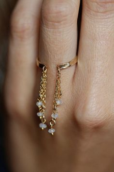 Gold Chain Ring Gold Moonstone Ring Drop chain Ring