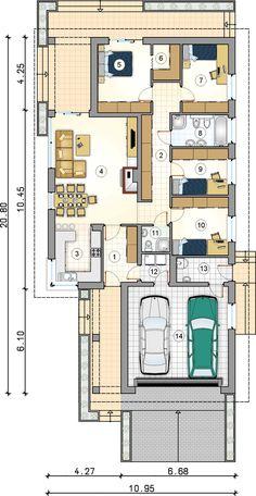 Energooszczędny parterowy dom z czterema sypialniami - Studio Atrium 2bhk House Plan, House Plans Mansion, Three Bedroom House Plan, Best House Plans, Dream House Plans, Modern House Plans, Small House Plans, House Floor Plans, Home Design Floor Plans