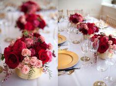 Chá no Jardim {Casamentos e Inspirações}: Inspiração Vermelho e Dourado {Centro de Mesa}