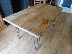 Timber Dining Table / Garden Table with Metal Hairpin legs