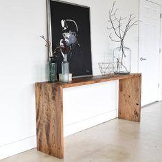 Reclaimed Wood Console Table / Modern Plank Entryway Table Our reclaimed wood modern console table i Rustic Furniture, Diy Furniture, Furniture Design, Modern Furniture, Furniture Vintage, Industrial Furniture, Vintage Industrial, Painted Furniture, Reclaimed Wood Furniture