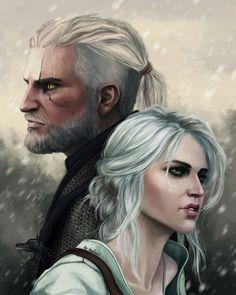 Geralt and Ciri http://xla-hainex.tumblr.com/tagged/the-witcher-wild-hunt