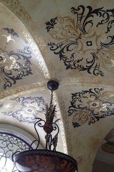 Love this Stunning groin ceiling by Deborah Schmersal Kelly w/ the Ornamental  Modello® Designs vinyl stencils!